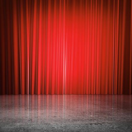 cortinas rojas: cortinas rojas y piso de concreto