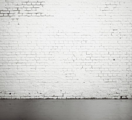 high resolution white brick wall and floor 写真素材