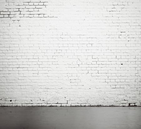 high resolution white brick wall and floor Standard-Bild