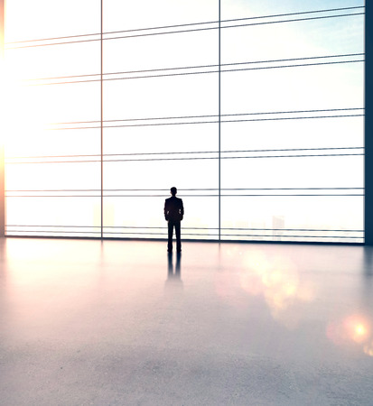 window frame: businessman in big sunlight office