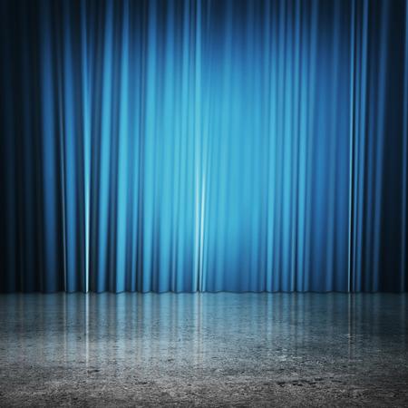 ブルーのカーテンおよび具体的な床 写真素材 - 43650625