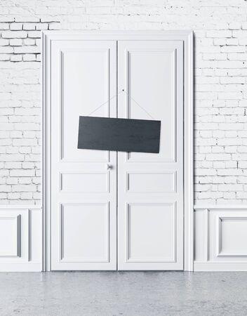 white door: white door with an empty plate