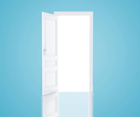 bright paintings: open door in blue room Stock Photo