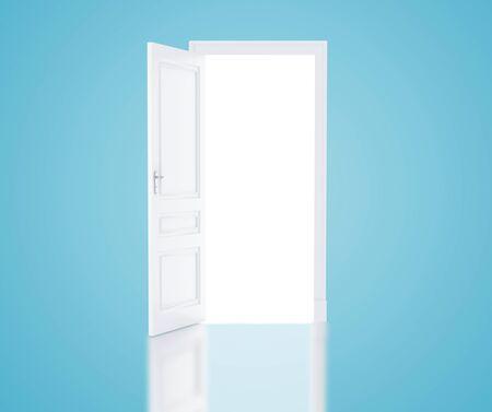 room door: open door in blue room Stock Photo