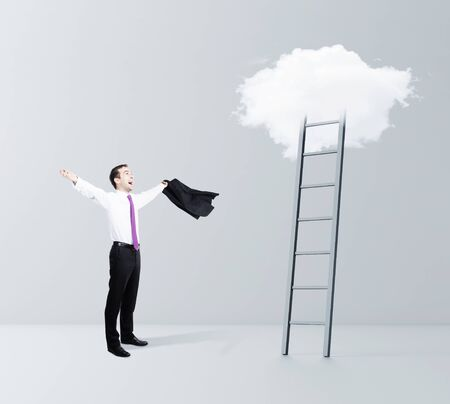 stairway to heaven: happiness businessman and cloud Stairway to Heaven Stock Photo
