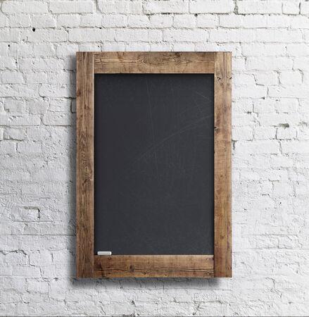 ladrillo: marco en blanco negro en la pared de ladrillo Foto de archivo