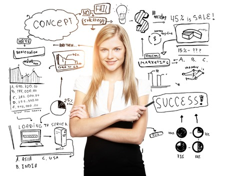business plan: woman and business plan concept