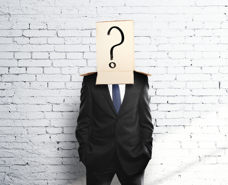 reproach: man with a box on head with question mark