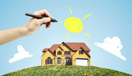 roof: hand drawing house and sun Stock Photo