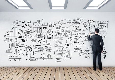 teach: businessman drawing business concept on wall
