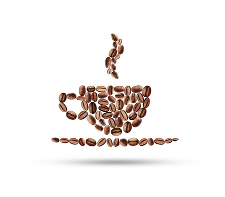 coffee beans: cup of coffee beans on a white background