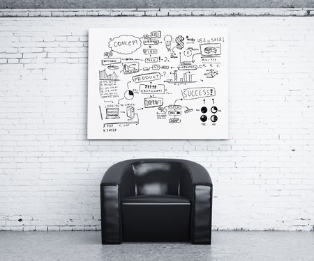 wall paper: chair in room and poster with business concept Stock Photo