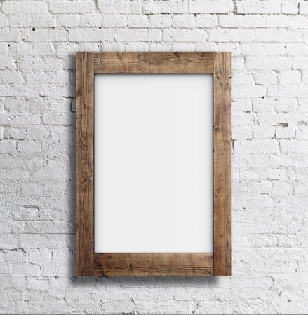 brick sign: blank white frame on brick wall