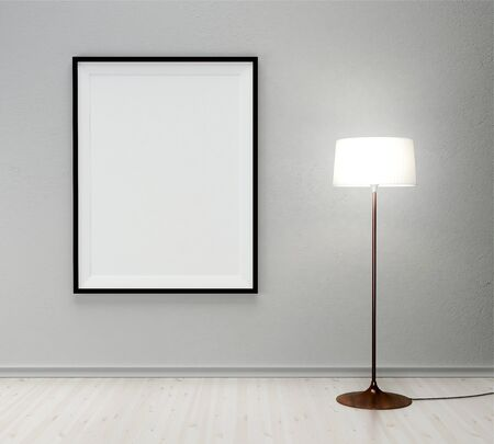 floor lamp: white floor lamp and frame in room