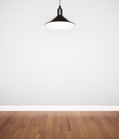 white wood floor: white concrete wall with lamp and wood floor