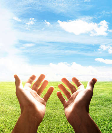 hands in the air: hands reach for field, close up Stock Photo