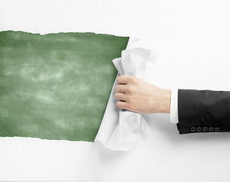 hand paper: hand turns page to green blackboard