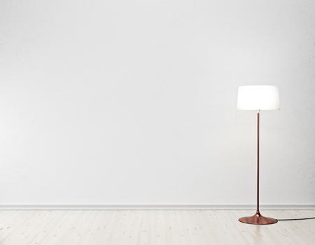 hormig�n: interior blanco con l�mpara de pie
