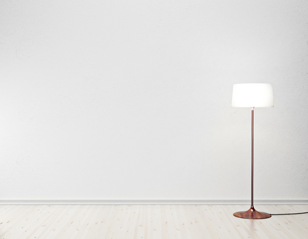 floor lamp: white interior with floor lamp Stock Photo