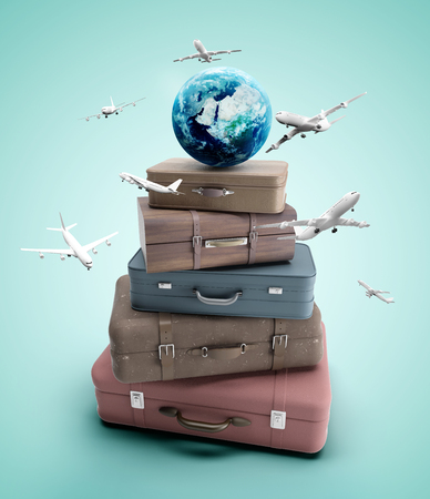duffel: travel bags and airplane on blue background Stock Photo