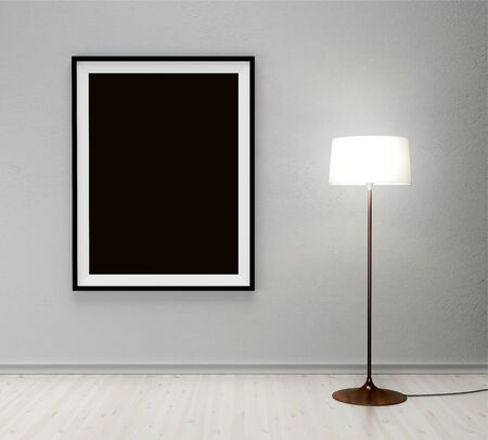 floor lamp: floor lamp and black frame on wall Stock Photo