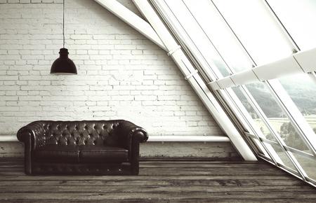 sofa: loft with window and leather sofa Stock Photo