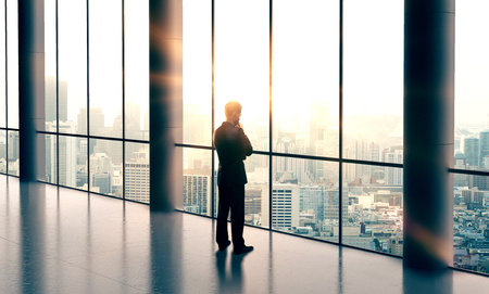 businessman thinking and looking in city Stock Photo
