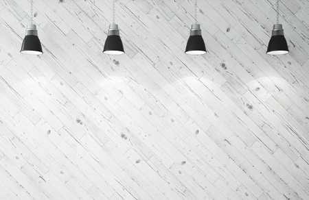 concrete texture: wooden wall and ceiling lamps. 3d render