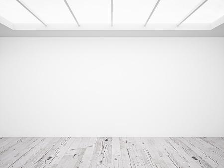 muro de hormigón blanco y el piso de madera en el desván