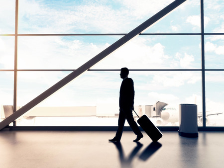 luggage travel: businessman in airport with luggage, travel concept