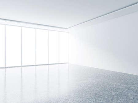 big window: white interior and big window, 3d render Stock Photo