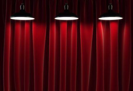 cortinas rojas: tres lámparas y cortinas rojas, 3d