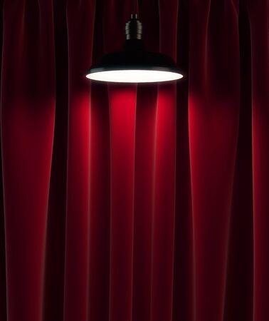 cortinas rojas: la l�mpara y cortinas rojas, 3d Foto de archivo