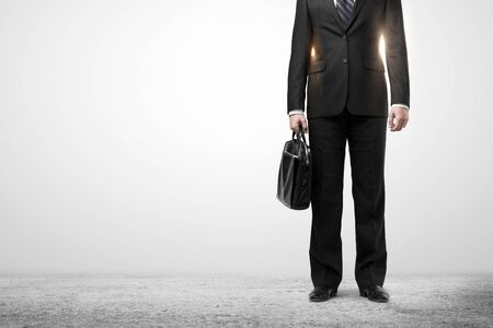 briefcase: businessman in suit with black briefcase