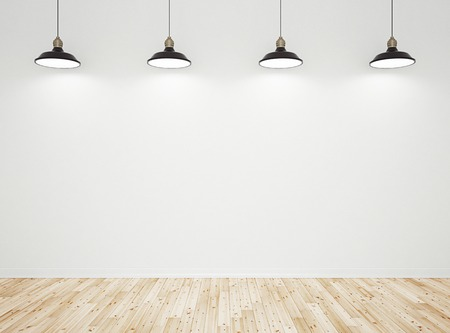 lighting background: wooden laminate wall and lamps Stock Photo
