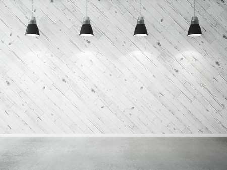 wood ceiling: wooden wall and four ceiling lamp. 3d render