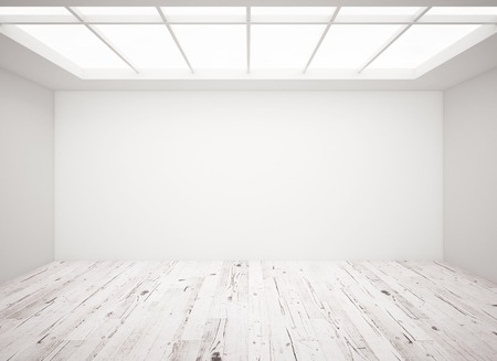 concrete floor: white concrete wall and wooden floor in loft Stock Photo