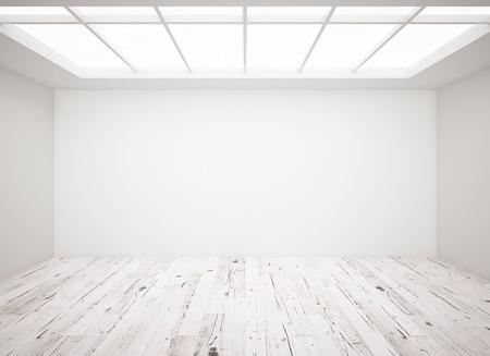 witte betonnen muur en houten vloer in de loft Stockfoto