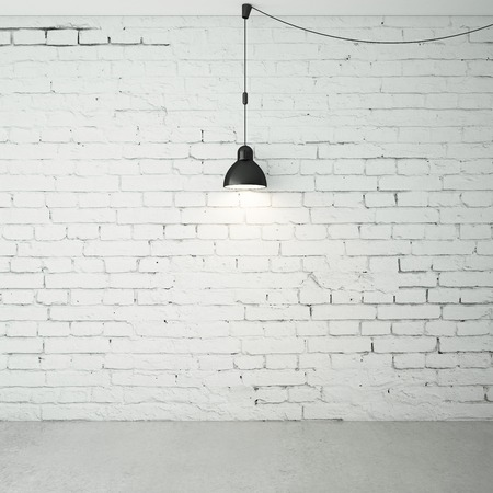 ceiling lamps: brick room with ceiling lamps Stock Photo