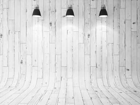blanco: pared de madera y tres lámparas de techo. 3d Foto de archivo