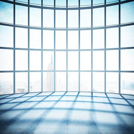 window frame: big room with big window to city