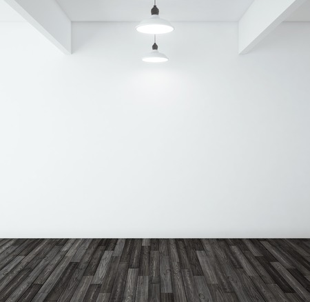 panelling: wooden black parquet in room and two lamp Stock Photo