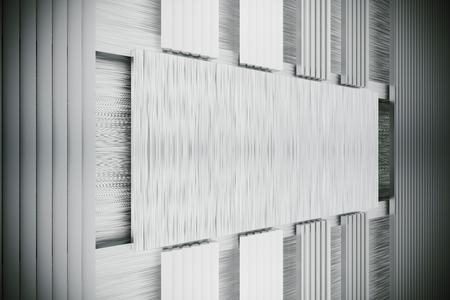 heavy effect: Stainless metal blank placard, 3d rendering