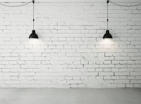 plafond: brick room with two ceiling lamps Stock Photo