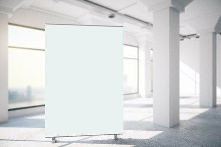 business building: vertical blank stand in white interior, 3d rendering