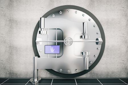 combination: metallic bank vault door, 3d rendering