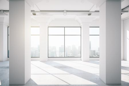 intérieur du bureau vide avec grande fenêtre, rendu 3d