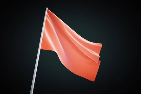 red cloth: Waving red flag on black background, 3d rendering