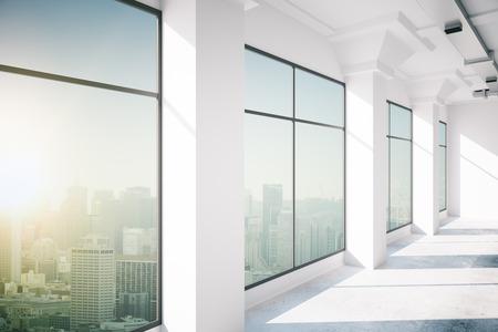 ウィンドウ、3 d レンダリングと空のオフィスのインテリア