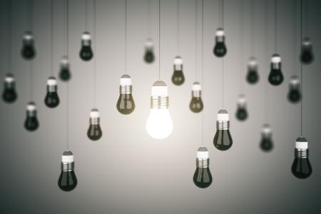 lightbulb: many lightbulb, business idea concept. 3d rendering